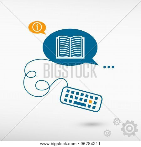 Book Icon And Keyboard On Chat Speech Bubbles.