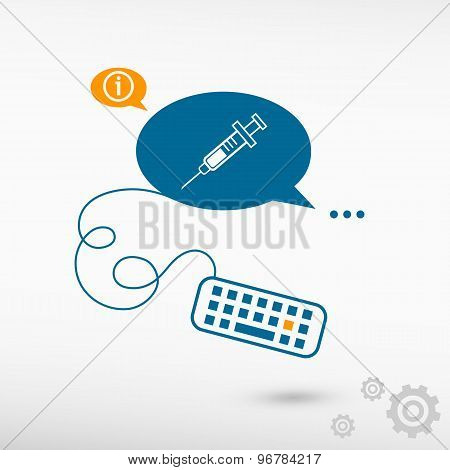 Syringe Icon And Keyboard On Chat Speech Bubbles
