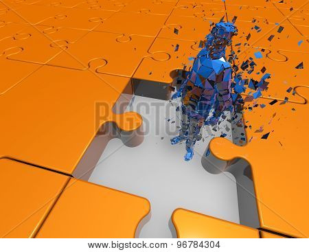 Puzzled Man, 3D Shattered Man Inside Big Jigsaw Puzzles