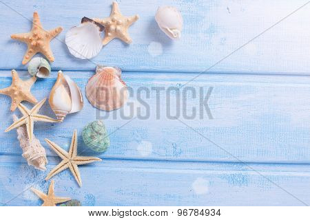 Marine Items On Blue Wooden Background