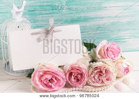Splendid Roses And Tag For Text