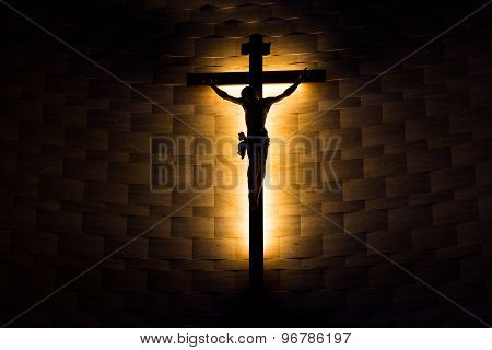 Crucifix of the Catholic faith in silhouette