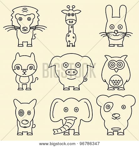 Cartoon Line Animals. Lion, Giraffe, Rabbit, Fox, Pig, Owl, Dog, Elephant, Panda
