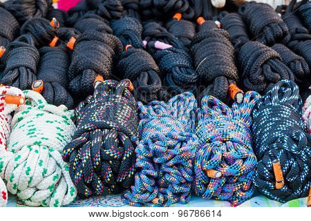 Stack Of Coiled Nylon Rope.