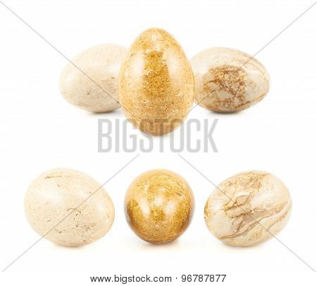 Three egg shaped stones
