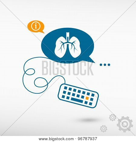 Lung Icon And Keyboard On Chat Speech Bubbles