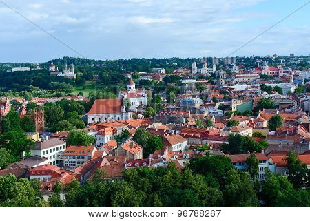 View From Lookout Of Gediminas Tower On Prechistenskiy Cathedral And Church Of St. Anne, Vilnius