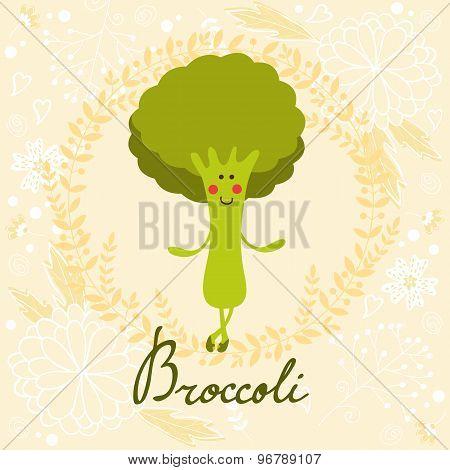 Cute sweet broccoli character illustration