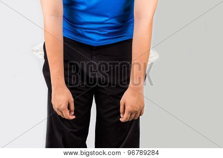 Teenager with empty pockets with a negative, depressed and discouraged posture