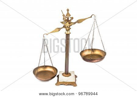 Unbalanced brass scale, lop-sided to the left. No justice.