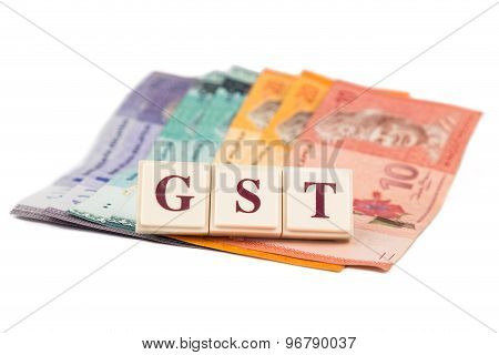 Goods and Services Tax concept. Malaysia Ringgit money on white background with GST alphabet letters