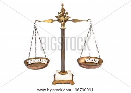 Commercial concept of balance scale. Income meets expenses