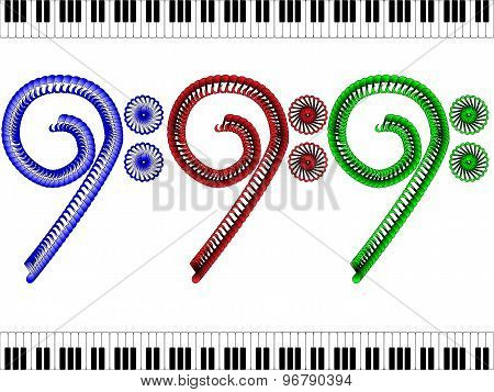 Bass clef - red blue and green between keys