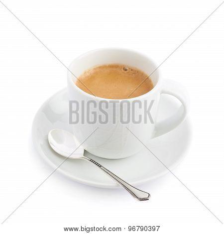 Black coffee in a white ceramic cup