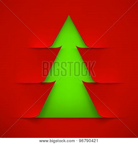 Abstract Green Christmas Tree With Red Cover