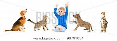 Cheerful child and pets together