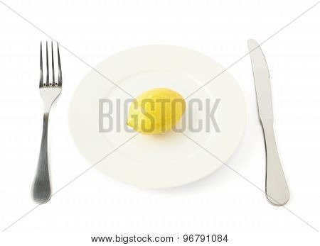 Lemon fruit in a plate isolated