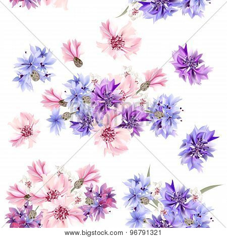 Seamless Pattern With Blue, Pink And Purple Cornflowers