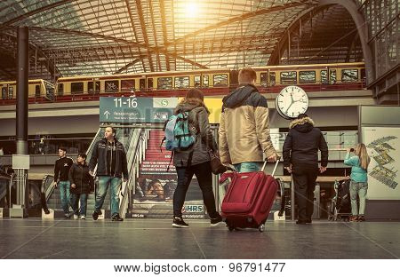 BERLIN, Germany - MARCH 28, 2015: Main train stantion in Berlin -  Hauptbahnhof is one of modern stantion in Europe.