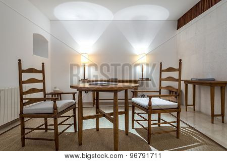 Empty Table And Chair In Interior