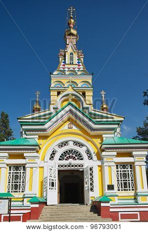 Exterior of the Ascension Cathedral in Almaty, Kazakhstan.