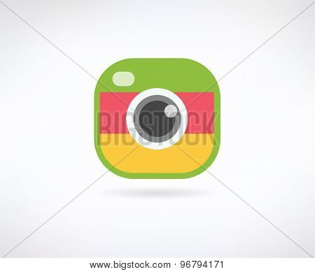 Photo app color vector icon. Camera, lense and shot, app, filter, photography, click. Stock design element.