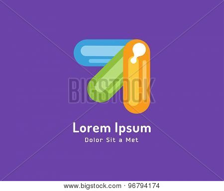 Vector colored arrows isolated on white background. Stock illustration. Abstract, arrow, shape, up, symbol, logo, icon, moving, creative, idea.