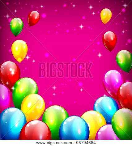 Multicolored Inflatable Celebration Balloons Like Frame On Violet