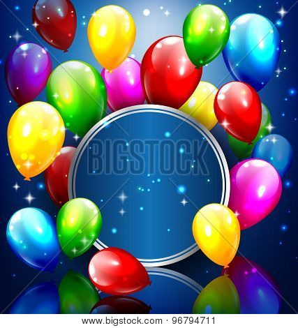 Multicolored Inflatable Balloons With Circle Frame On Blue