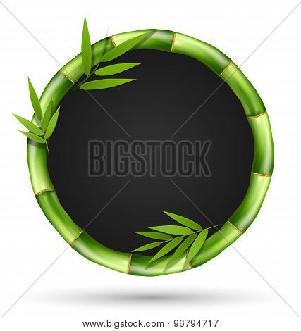 Bamboo Grass Circle Frame With Leafs Isolated On White