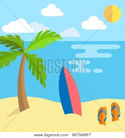 Summer Vacation Background Island With Palm Slippers And Surf