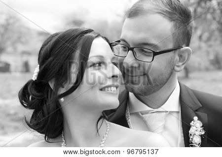 Young Bridal Couple  In Black And White