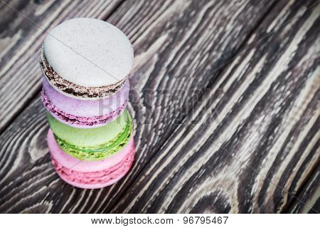 Macaroon On A Wooden Table
