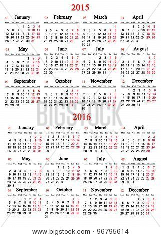 calendar for 2015 and 2016 years