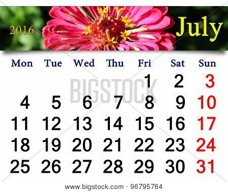 calendar for July 2016 with image of zinnia
