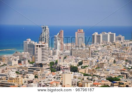 The Skyline Of Tel Aviv, And Tel Aviv Beach As Seen From Shalom Meir Tower