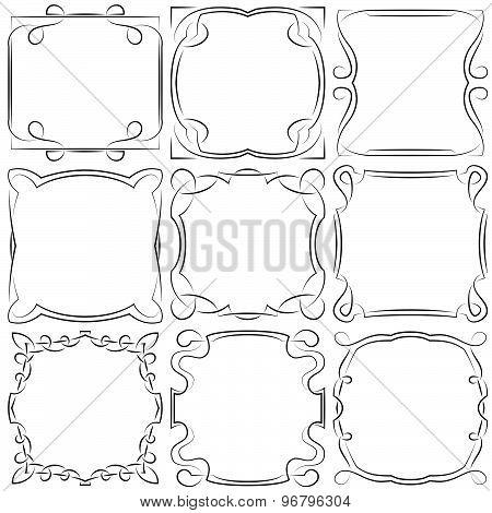 Vector Set Of Nine Square Frames