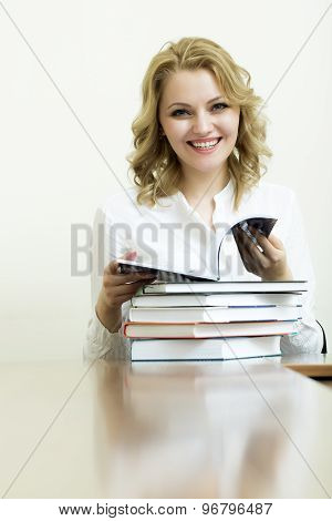Attractive Woman With Books