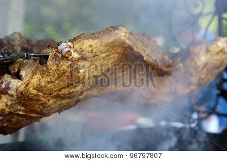 Juicy Meat Roasted On Spit Grille