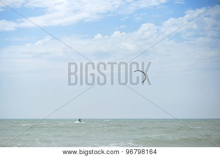 Paraglider And Ocean Landscape