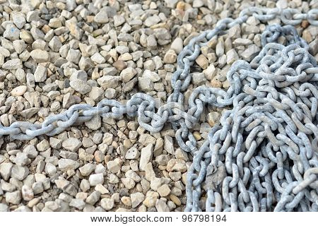 Little Pebble Stones And Anchor Chain