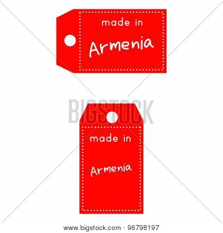 Red Price Tag Or Label With White Word Made In Armenia Isolated On White Background