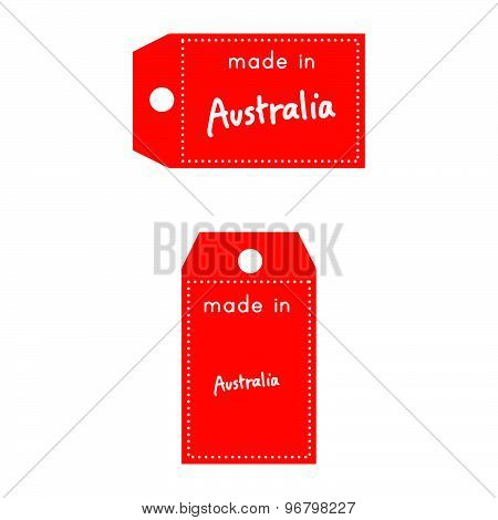 Red Price Tag Or Label With White Word Made In Australia Isolated On White Background