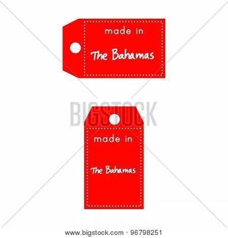 Red Price Tag Or Label With White Word Made In The Bahamas Isolated On White Background