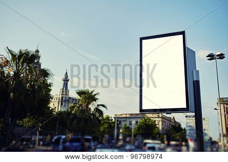 Advertising mock up empty banner in metropolitan city at beautiful sunny day