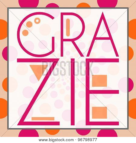 Grazie Text Peach Pink Background Square