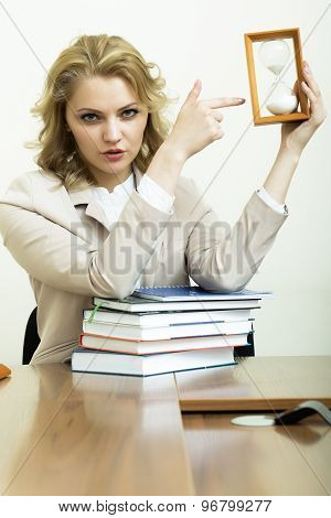 Business Woman With Books And Glass