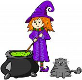pic of fanny  - Fanny cartoon witch cooking a potion in a cauldron - JPG