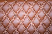picture of quadrangles  - Leather diamond stripes brown color texture background natural color - JPG