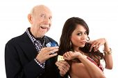 stock photo of snob  - Rich elderly man with Hispanic gold - JPG